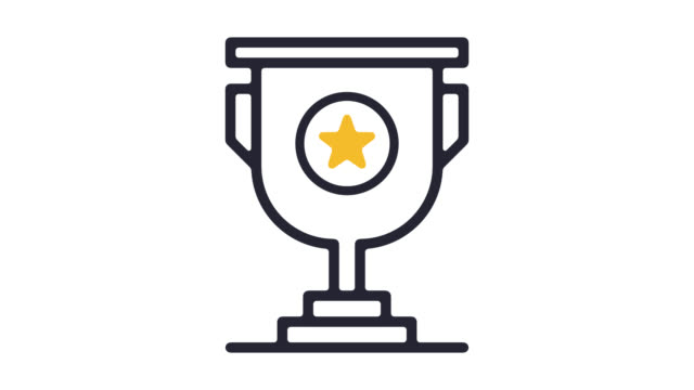 vídeos de stock e filmes b-roll de trophy awards line icon animation with alpha - prémio