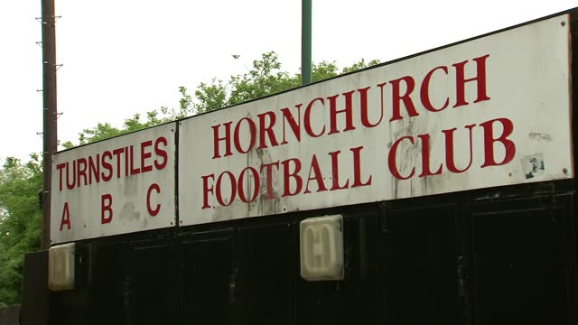 hornchurch fc to face hereford in final; england: london: hornchurch: ext young hornchurch fc fans with flags hornchurch fc scarves for sale man... - news not politics stock videos & royalty-free footage