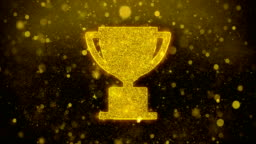Trophy Win Cup Icon Golden Glitter Shine Particles.