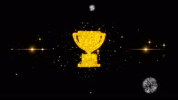 Trophy Win Cup Icon on Glitter Golden Particles Firework.