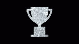 Trophy Win Cup Icon Shining Glitter Loop Blinking Particles .