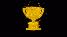 Trophy Win Cup Icon Sparks Particles on Black Background.