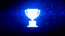 Trophy Win Cup Symbol Digital Pixel Noise Error Animation.