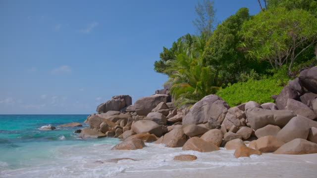 tropical beach anse georgette with typical granite rock formations and palm trees on praslin island , granitic seychelles , archipelago country in the indian ocean - granite rock stock videos & royalty-free footage