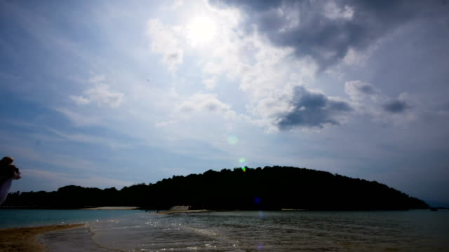 Tropical beach island, Clouds sky and sea at Koh Kham, Thailand, 4k resolution Time Lapse