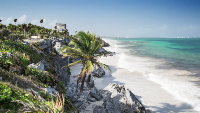 TL, WS Tropical caribbean beach with Mayan ruins / Tulum, Mexico