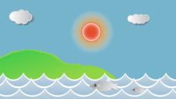 Tropical Carton animation Sky, sea fish,Sun, cloud