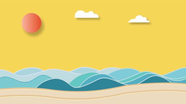 tropical carton animation sky, sea fish,sun, cloud - illustration stock videos & royalty-free footage