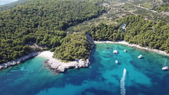 vídeos y material grabado en eventos de stock de tropical coastline in hvar, aerial - cultura croata