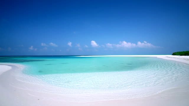tropical empty beach and lagoon, maldives, indian ocean - idyllic video stock e b–roll