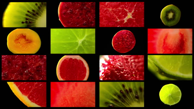tropical fruit in multi frames with black background - fruit salad stock videos & royalty-free footage