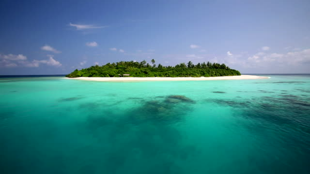 tropical island and lagoon, maldives, indian ocean - clima tropicale video stock e b–roll