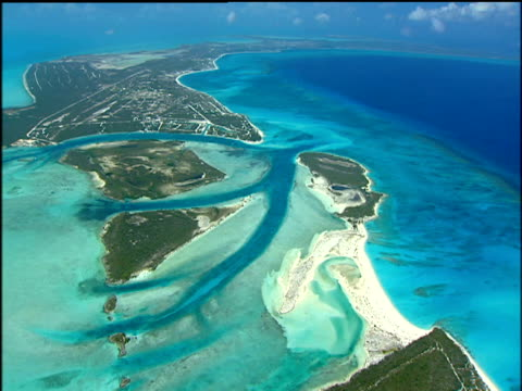 Tropical island landscapes surrounded by beautiful turquoise and crystal clear sea British Turks and Caicos Islands