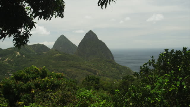 ws ha pan tropical landscape / soufriere, st. lucius, caribbean - st lucia stock videos & royalty-free footage