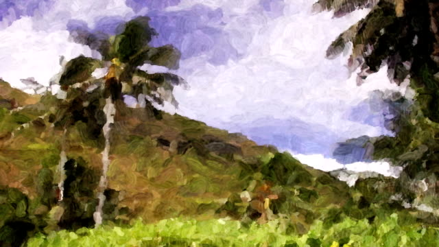 Tropical palms sway in a breeze looking like a moving impressionistic painting.