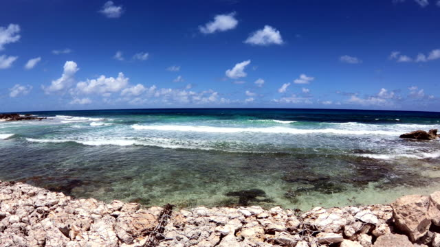 tropical sandy beach on caribbean sea. mexico. - tulum mexico stock videos & royalty-free footage