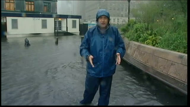 tropical storm irene reaches new york; reporter to camera - journalist stock videos & royalty-free footage