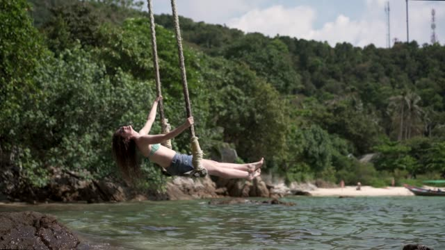 tropical vacation - rope swing stock videos & royalty-free footage