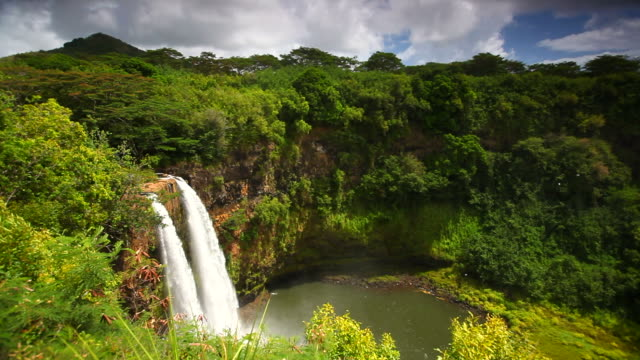 tropical wailua falls, kauai, hawaii - kauai stock videos & royalty-free footage