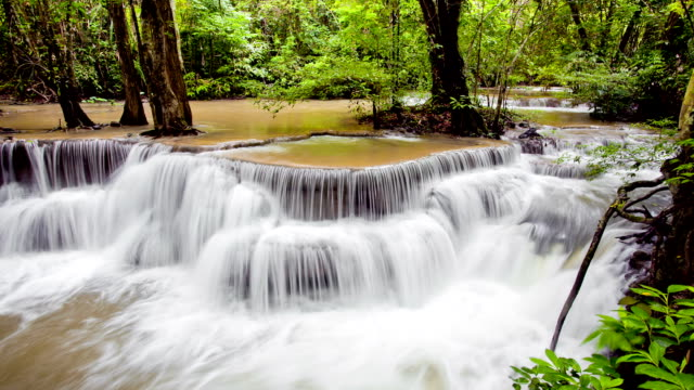 Tropical Waterfall in Forest panning and long exposure Technique Time-Lapse