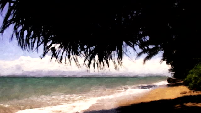 a tropical wave rolls into shore looking like a moving impressionistic painting. - fan palm tree stock videos & royalty-free footage