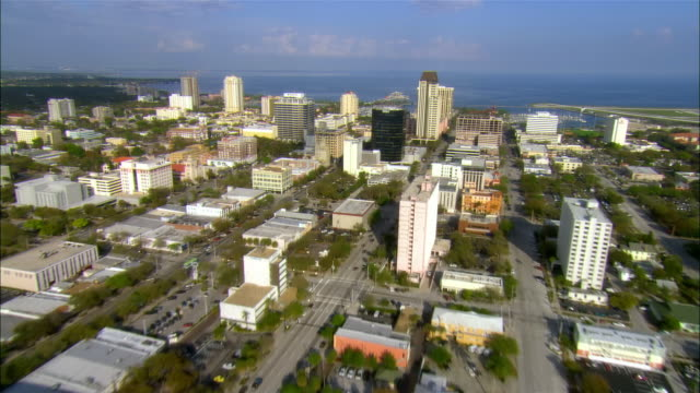 AERIAL, Tropicana Field, downtown district and pier, St. Petersburg, Florida, USA