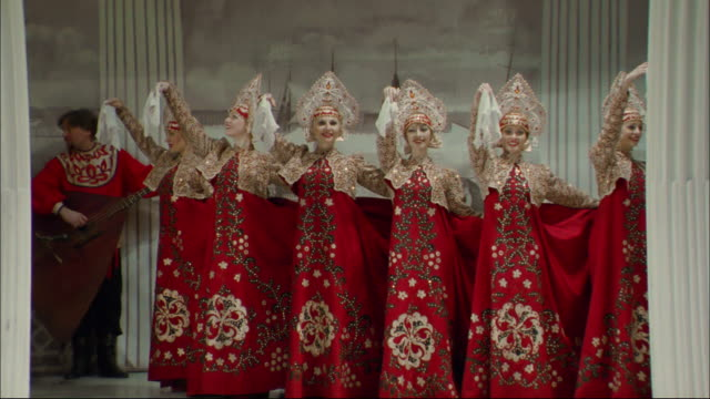 a troupe performs a traditional russian dance. - stage costume stock videos and b-roll footage