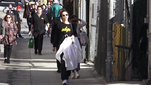 stockvideo's en b-roll-footage met troye sivan arrives at jimmy kimmel live at el capitan theater in hollywood in celebrity sightings in los angeles - el capitan theater