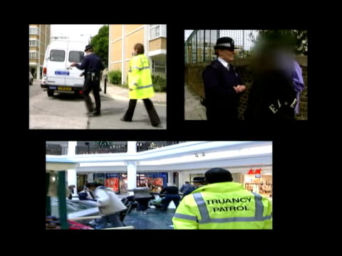 fines introduced for parents itv lunchtime news catherine jacob graphicised split screen truancy patrol officers with children truancy officer... - itv lunchtime news stock videos & royalty-free footage