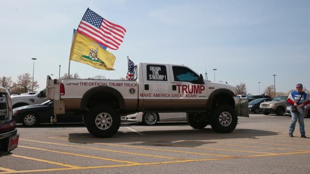 a truck appearing to belong to a trump supporter is parked near freedom hall at kentucky exposition center before united states president donald... - tea party stock videos and b-roll footage