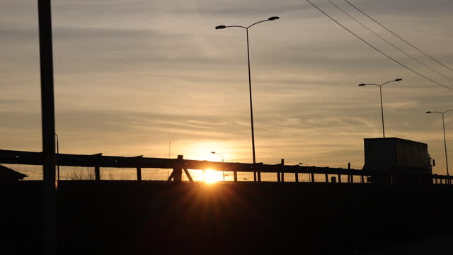 truck at sunset - back lit stock videos & royalty-free footage