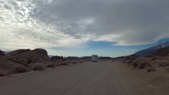 truck camper off road driving in alabama hills on march 18, 2021 - californian sierra nevada stock videos & royalty-free footage