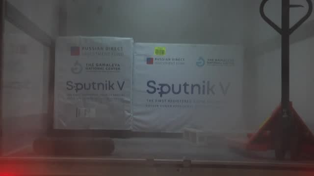 truck carrying 10,000 doses of the russian sputnik v vaccines arrive at the palestinian authority health ministry in ramallah - sputnik stock videos & royalty-free footage