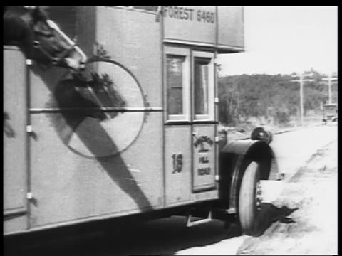 B/W 1927 truck carrying horse passing camera on road / educational