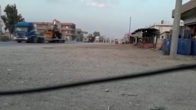 us truck convoy carrying military equipment to pkk/pyd terrorist group arrives in alhasakah syria on july 18 2017 the us has sent 195 trucks carrying... - kurdistan workers party stock videos & royalty-free footage