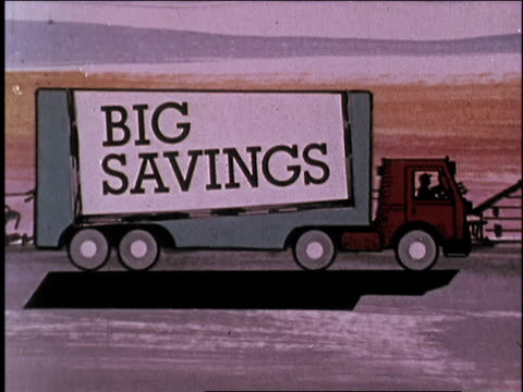 1974 montage truck driving down road with sears savings signs /united states - 1974 stock videos & royalty-free footage