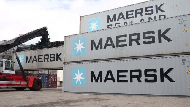 A truck moves an AP Moeller–Maersk A/S shipping container at Myanmar International Terminals Thilawa MITT in Thilawa Yangon Region Myanmar on...