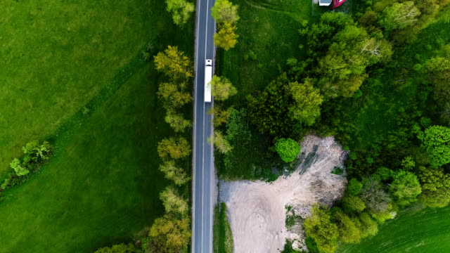 truck on a cinematic road aerial shot 4K