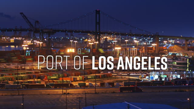 "truck on the dock with overlaid text: ""port of los angeles"" - port of los angeles stock videos & royalty-free footage"