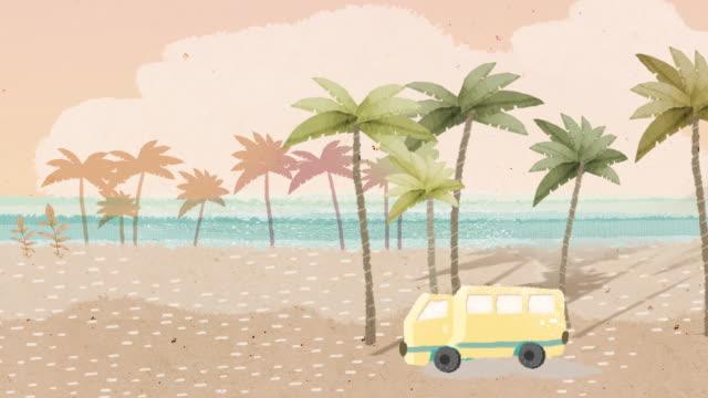 truck passing through the beach - tropiskt träd bildbanksvideor och videomaterial från bakom kulisserna
