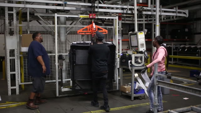 truck radiator and cooling module components are manufactured on an assembly line at mahle behr charleston inc in charleston south carolina us on... - household fixture stock videos and b-roll footage