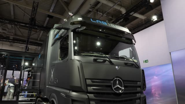 truck stands among vehicles on display at the annual daimler ag shareholders meeting on may 22, 2019 in berlin, germany. daimler has struggled with... - annual general meeting stock videos & royalty-free footage