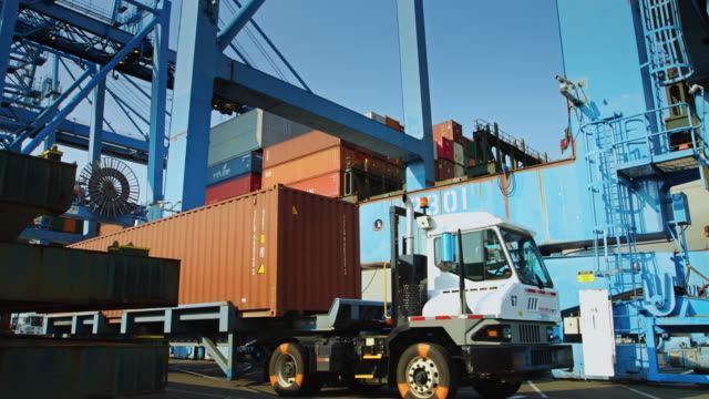 Truck to Ship Loading in Container Yard