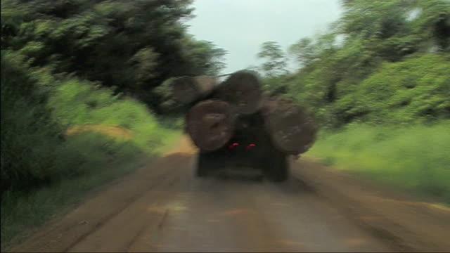 WS POV Truck with stack of lumber moving through dirt track / Gabon