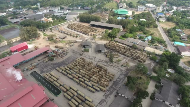 Truck with Sugar Cane Waiting to Weighing in Factory, Aerial Video