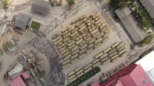 vídeos de stock, filmes e b-roll de caminhão com o bastão de açúcar que espera para pesar na fábrica - sugar cane