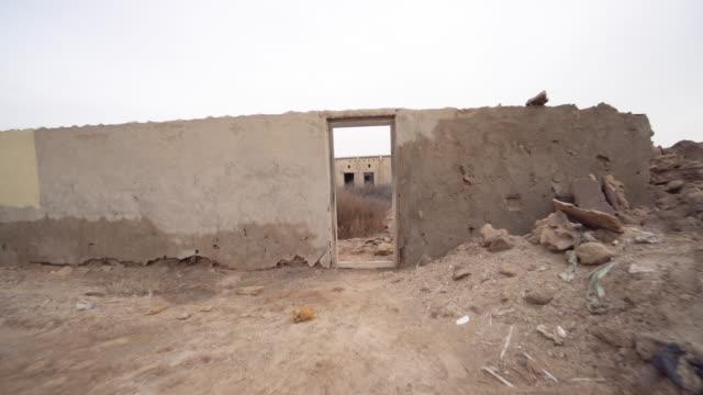 Trucking shot, destroyed building in Ras al-Khaimah