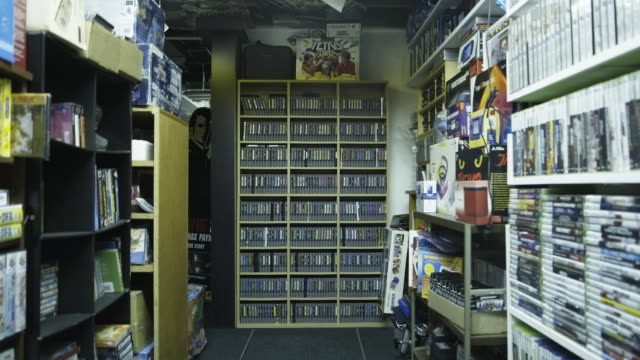 trucking shot, large video game collection - cartridge stock videos & royalty-free footage
