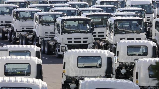 trucks bound for shipment sit parked in a lot at a pier in yokohama, kanagawa, japan on thursday, jan. 26 fuji heavy industries ltd. subaru branded... - subaru stock videos & royalty-free footage
