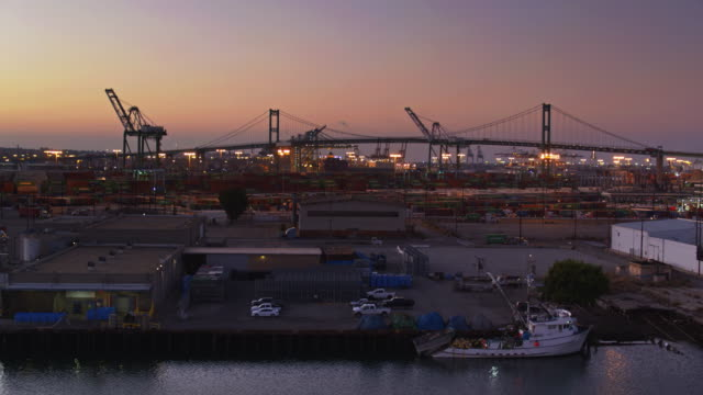 Trucks in the Port of LA at Dusk - Drone Shot